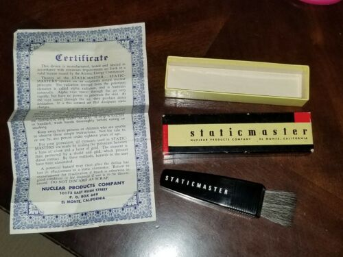 1 INCH Vintage STATIC MASTER BRUSH in CASE BOX & Certificate