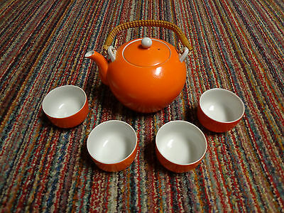 ORIENTAL TEA POT WITH 4 CUPS ORANGE IN COLOR MADE IN JAPAN