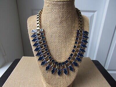 H&M Black + Navy Statement Necklace Diamond + Square Detail Gold-like Chain