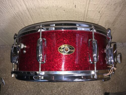 1964 SLINGERLAND RED SPARKLE 8 LUG 1 PLY MAPLE SNARE DRUM.COB HOOPS, A BEAUTY !