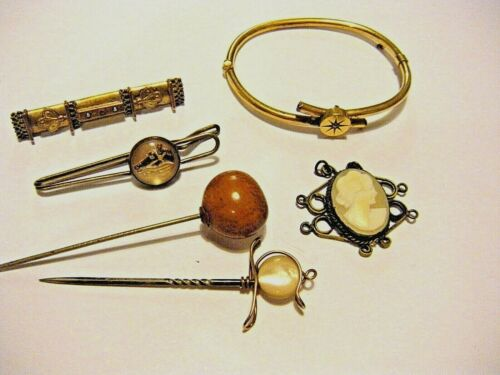 Lot of Vintage Estate Victorian Gold Fill / Plate Jewelry Diamond Stone Cameo