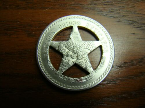 CUT OUT CINCO 5 PESO FROM WHICH TEXAS RANGER STYLE BADGE BADGES ARE MADE