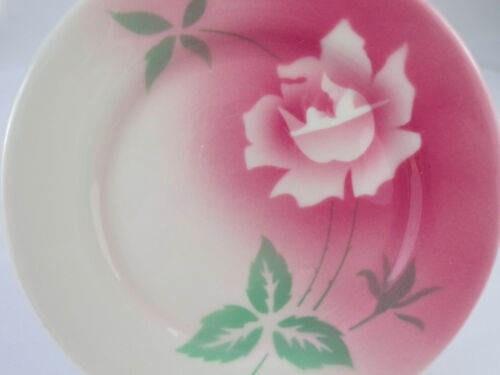 """Vintage Jackson China Airbrushed Plate Luncheon Dessert 6-1/2"""" Floral Pink Rose"""