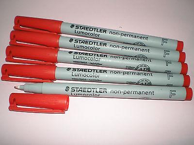 5x STAEDTLER Folienstift Lumocolor F non-permanent 316-2 rot OHP Pen Marker