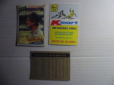 1980 Topps Baseball Card - 1980 Topps Baseball KMart Cello Pack With George Brett Showing + 3000 Hits Card
