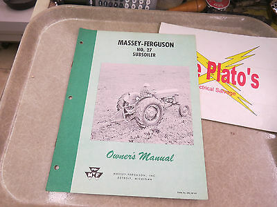 Massey-ferguson Owners Manual No 27 Subsoiler
