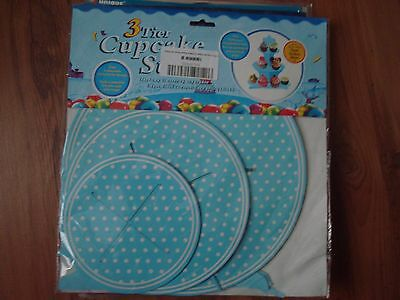 Tiffany Blue and White Polka Dot Cupcake Stand; cupcake centerpiece; shower deco - Tiffany Blue Paper Napkins