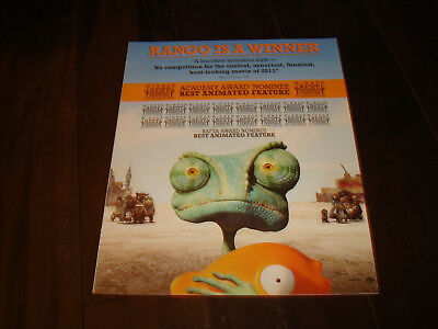 RANGO Oscar ad with fish for Best Animated Film & PUSS IN BOOTS Antonio