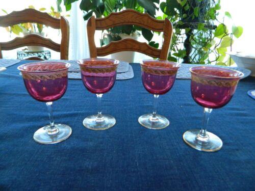 "Cranberry Gold Rimmed Glasses (4) 5""           2-2"