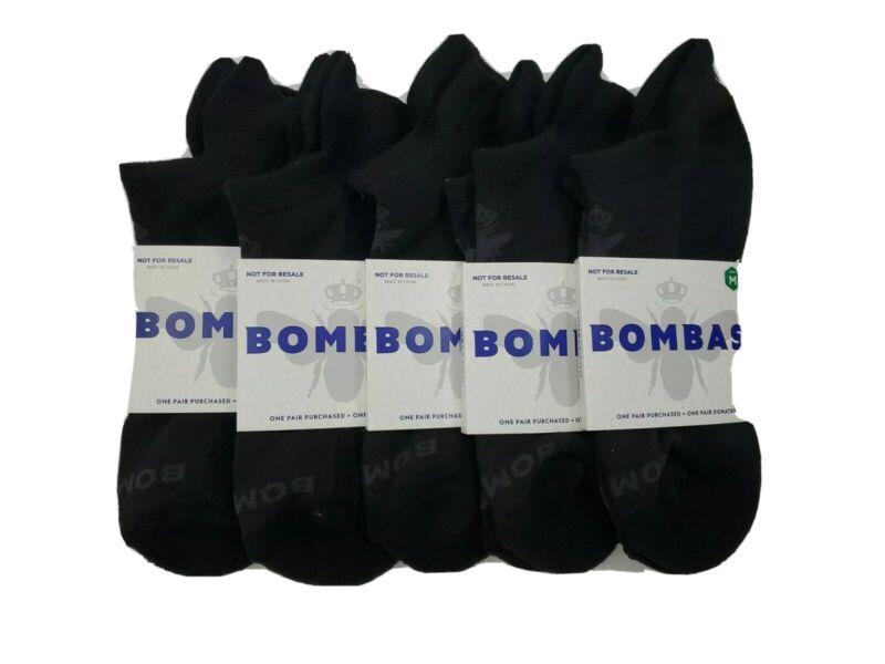 New Genuine BOMBA 5 Lot  Pack Women M Black Blister Tab Ankle Socks