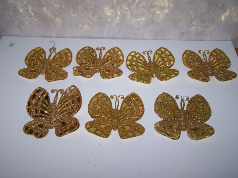 VINTAGE SET OF 7 GOLD GLITTER LARGE BUTTERFLY ORNAMENTS