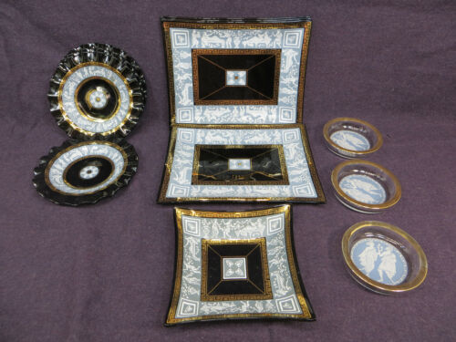 Vintage Cera Glass Black Gold Hellelic Greek Roman Snack Set & Ashtrays