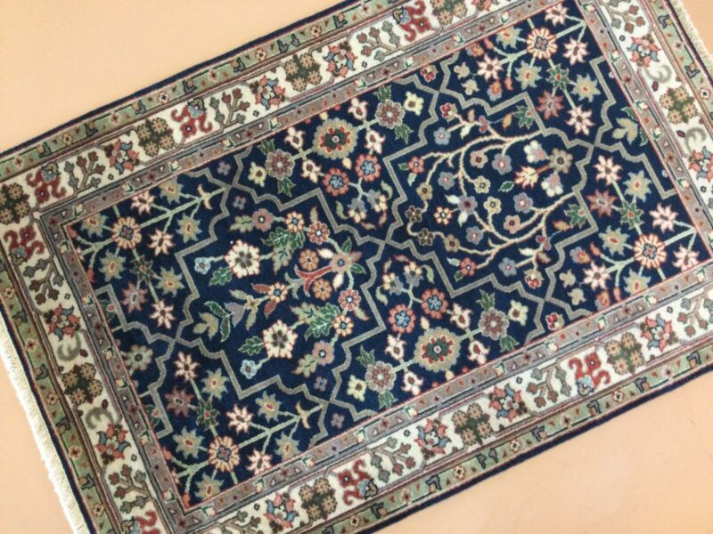 """2'.7"""" X 3'.9"""" Navy Blue Beige Fine Floral All-over Oriental Rug Hand Knotted"""