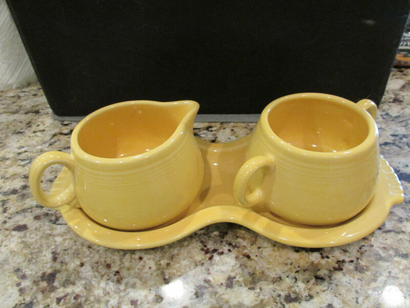 FIESTA SUGAR CREAM PITCHER TRAY SET MARIGOLD YELLOW FIESTAWARE KITCHEN EUC!