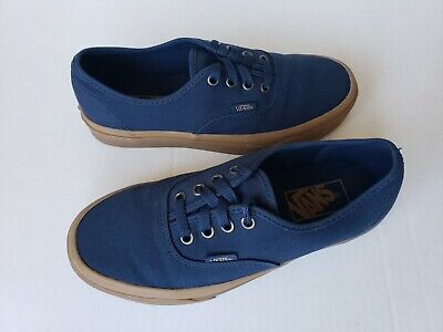 Vans Off the Wall 721356 Men's Size 5.5 Navy Canvas/Gum Sole Skateboard Shoes