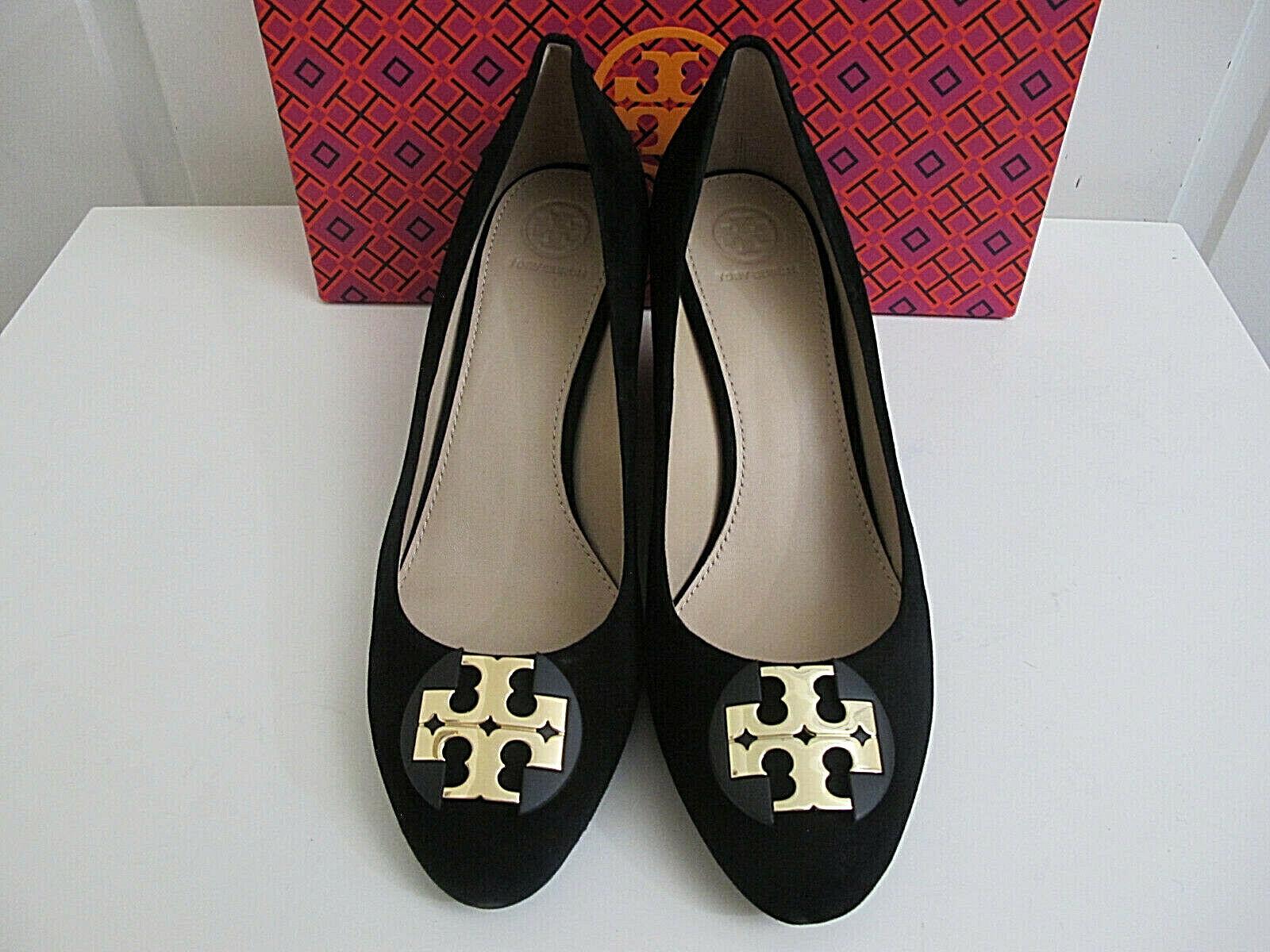 NIB 278 Tory Burch Luna 65 Wedge Pumps Heels Suede Shoes Black sz 9 Chelsea