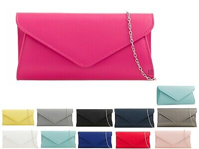 New Women's Faux Leather Envelope Ladies Wedding Party Evening Clutch Bag Purse