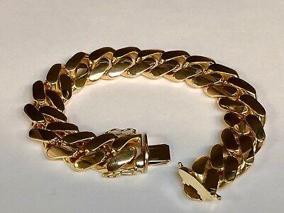 "10k Solid Yellow Gold Handmade Miami Cuban Curb Link Bracelet 9"" 180 gramS 18MM"