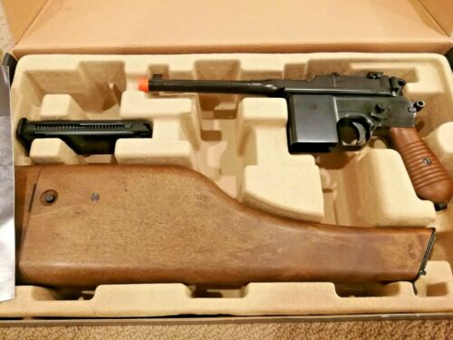 WE Tech Mauser C96 WE712 Gas Blowback Airsoft Pistol with Stock / Holster