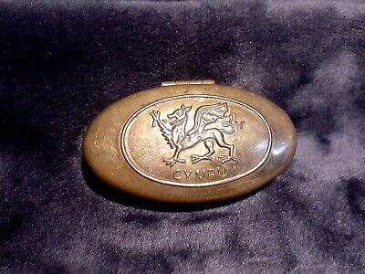 Antique Vintage Old Hinged Brass Welsh CYMRU Pill Snuff Tobacco Stash Box Case
