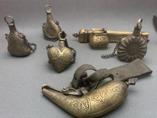 Ottoman persıan 5 gun powder  brass pen engraven lot 6