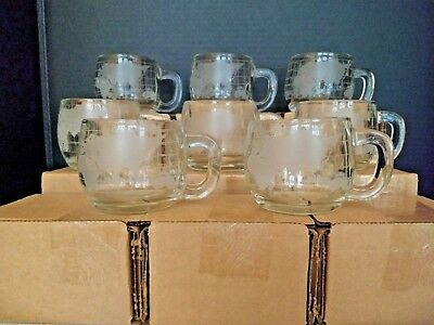 Set 19 vintage etched-glass 8-ounce world-map coffee mugs. Excellent
