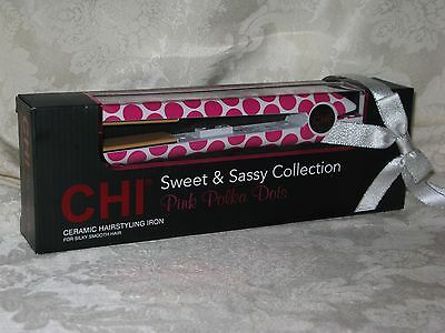 CHI Pink Polka Dots Ceramic Hairstyling/Straightening Iron. New. GF6859.