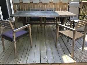 Teak table with four chairs(patio furniture)