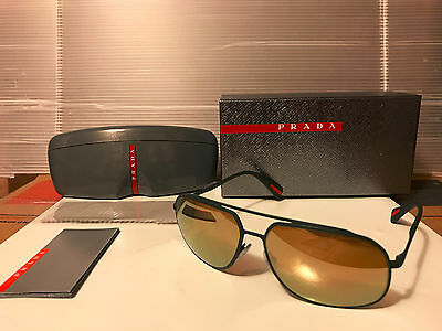 NEW Prada Sport LINEA ROSSA PS56RS UFI5N2 GreenRubber Brown Gld Mirror POLARIZED, used for sale  San Francisco