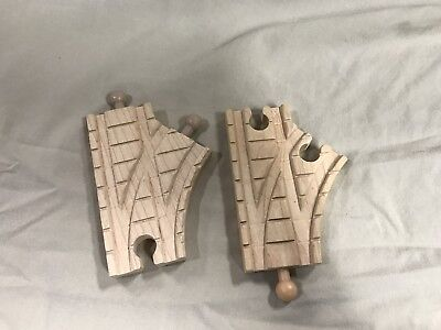 """Thomas Train Engine Wooden Clickity Clack Track 3.5"""" Single Curved Switch 2 pcs"""