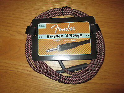 FENDER VINTAGE VOLT RED TWEED GUITAR CABLE / CORD 10' FOOT EFFECT PEDAL JUMPER