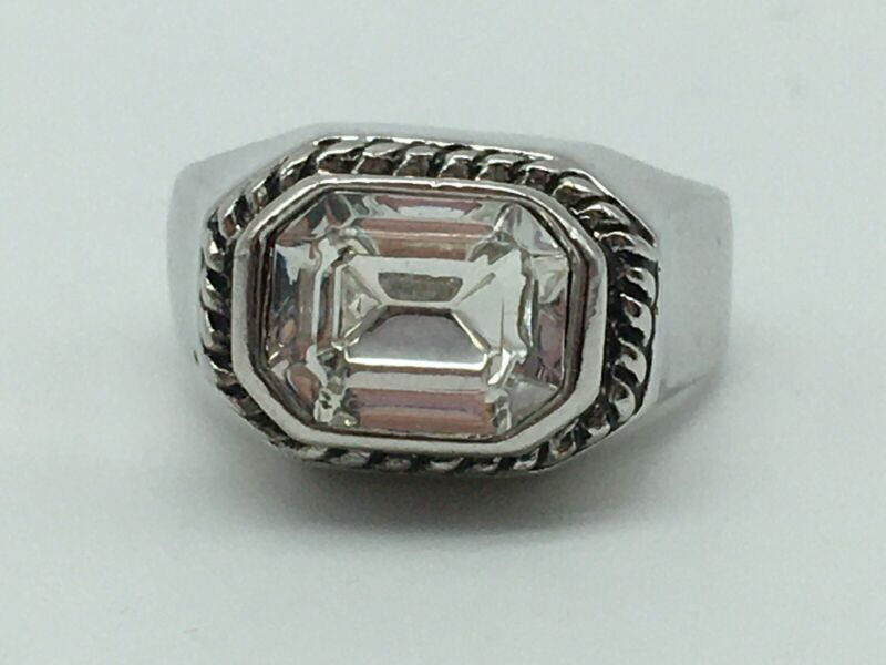 VINTAGE SILVER TONE CLEAR FACETED RECTANGLE RHINESTONE COSTUME RING SIZE 8