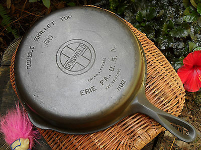 Griswold Cast Iron Double Skillet Top 80 Large Logo 1103 Clean - Level - NICE
