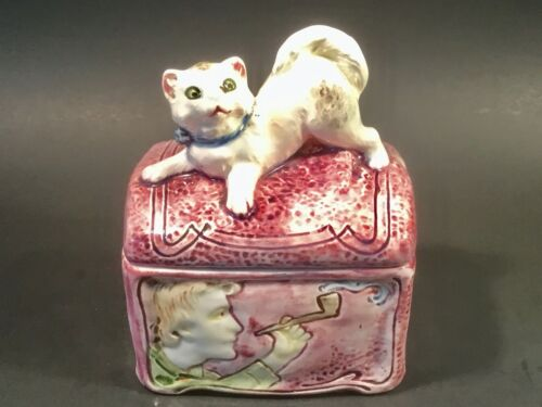 Antique Majolica Humidor White Persian Cat on Trunk c.1800