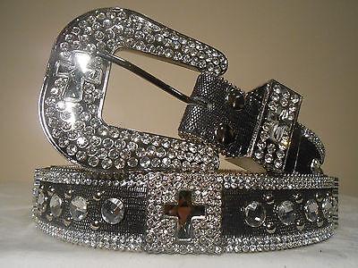ON SALE!! Women's/Misses Nocona Croc Leather Crystal Bling Belt w/cross Size Med