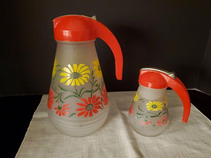 Vintage Hazel Atlas Frosted Glass #5378 Syrup & Juice Pitchers Daisy Pattern