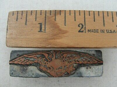 Vintage Printing Letterpress Printers Block American Eagle Copper Wood