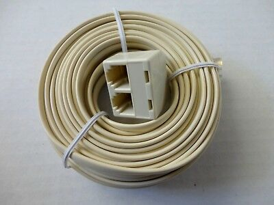 - 50ft. Modular Plug to Double Jack Extension Telephone Flat Line Cord, 6P4C Ivory
