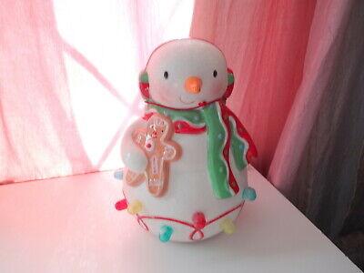 2008 Hallmark Ceramic SNOWMAN w Gingerbread Musical Light-up Gumdrop Glittered