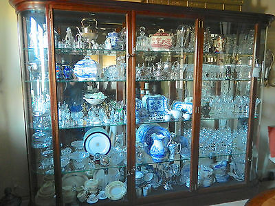 "Victorian Display Cabinet Case 115"" Long 88"" Tall with Curved Glass Wood Frame"