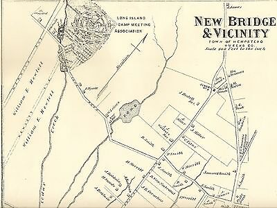 Bellmore Merrick NY 1873  Map with Homeowners Names Shown