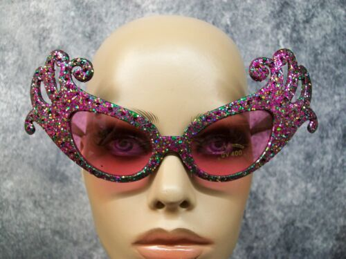 Purple Green Glitter Dame Costume Glasses Retro Cat Eye Edna Face Furniture 60