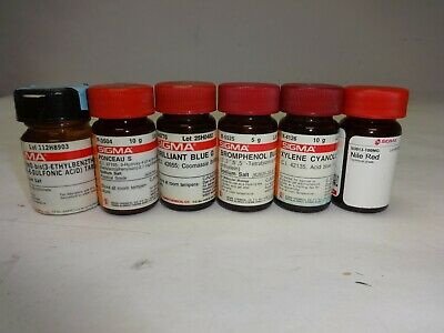 Lot Of Sigma Aldrich Lab Dyes - Opened - Nile Red Brilliant Blue G More