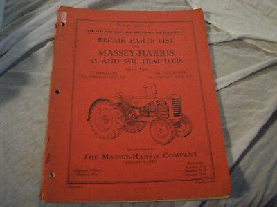 Mhp Part - Original Massey-Harris 55 & 55K Tractor Repair Parts List Manual