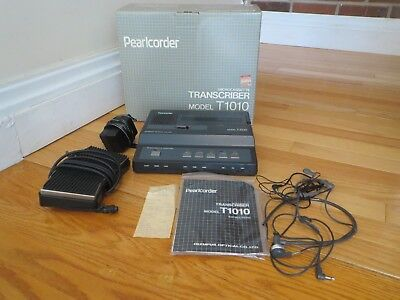 Olympus Pearlcorder T1010 Microcassette Transcriber Ac Pedal 2 Headset