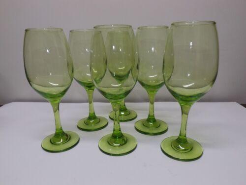 "6 LIBBEY PREMIER GREEN WINE GLASSES STEMWARE 8 1/4"""