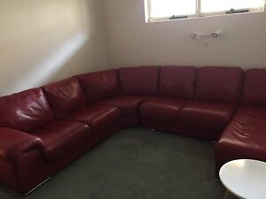 Red Leather Lounge with Chaise Bicton Melville Area Preview