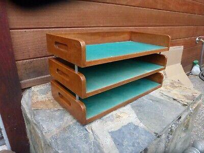 Vintage Desktop File Holder In Out Box Legal Size 3 Wooden Shelf Shelves