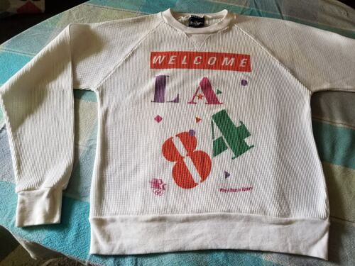 VINTAGE 1984 L.A. OLYMPICS LONG SLEEVE THERMAL TEE SHIRT UNUSED LARGE NEW WAVE