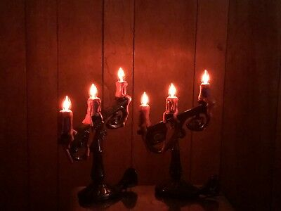 Gemmy Halloween Flickering Candle Eerie Flame Lights Candelabras x 2 (Eerie Halloween)